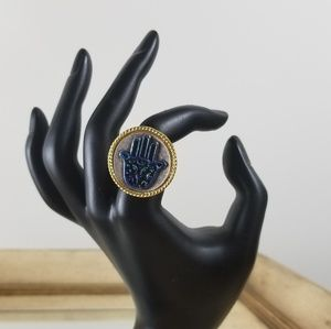 Jewelry - Hamsa blue ring one size adjustable open back